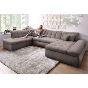 DOMO collection Wohnlandschaft NMoric, im XXL-Format, wahlweise mit Bettfunktion und Armlehnenverstellung braun Wohnlandschaften Sofas Couches