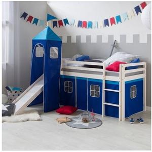 Homestyle4u Hochbett Kinderbett mit Rutsche & blauem Stoffvorhang, verschiedene Ausführungen