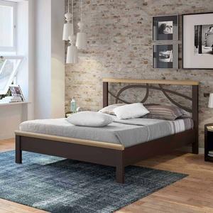 Metallbett in Braun Holz modern
