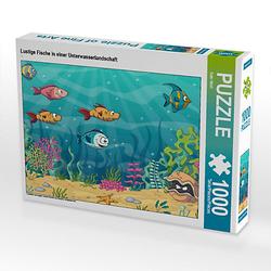 Lustige Fische in einer Unterwasserlandschaft Lege-Größe 64 x 48 cm Foto-Puzzle Bild von Gabi Wolf Puzzle