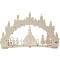 Saico Original 3D-Lichterbogen Seiffener Kirche, 7flammige LED-Beleuchtung, natur ca. 52x32x4,5cm