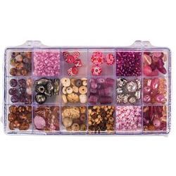 Rayher Perlen-Set Glasperlenbox rose