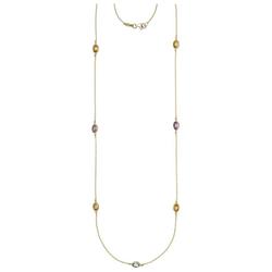 JOBO Collier, 585 Gold mit Amethyst Blautopas Citrin 90 cm