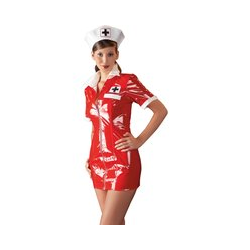 Minikleid plus Haube aus Lack, im Krankenschwester-Look