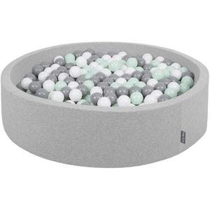 KiddyMoon Bällebad 120X30cm/300 Bälle Rund Groß Bällepool Mit Bunten Bällen Für Babys Kinder, Hellgrau:Weiß-Grau-Mint
