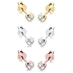 Elli Ohrring-Set 3er Set Tri-Color Kristalle 925 Silber