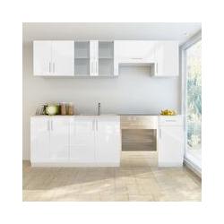 Küchenzeile 7-tlg. Hochglanz Weiß 240 cm - Youthup