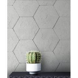 Newroom Vliestapete, Grau Tapete Modern Stein - Hexagon Schwarz Steintapete Steinoptik Backstein Industrial Bauhaus für Wohnzimmer Schlafzimmer Küche grau