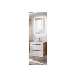 Lomadox Waschtisch-Set LUTON-56, (Spar-Set, 3-tlg), in Hochglanz weiß 60cm Waschtisch & LED-Spiegel, B/H/T ca. 60/200/46 cm