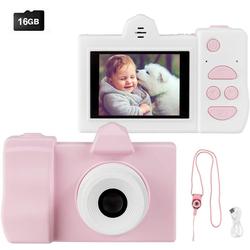 COSTWAY Kinder Digitalkamera Videokamera Kinderkamera (18MP/720P HD, inkl. Trageband, 16GB-Speicherkarte) rosa 5 cm x 9 cm