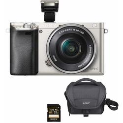 Sony Alpha ILCE-6000L Systemkamera (SEL-P1650, 24,3 MP, WLAN (Wi-Fi), NFC, Gesichtserkennung, HDR-Aufnahme, Makroaufnahme) silberfarben