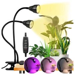 Rosnek Pflanzenlampe LED Grow Light für Zimmerpflanzen Vollspektrum Pflanzenlampe USB, Doppelkopf-Pflanzenlicht