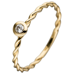 JOBO Diamantring, 585 Gold mit Diamant 0,05 ct. 60