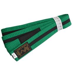 Kinder BJJ Gürtel grün-schwarz m. Bar (Größe: 240, Farbe: Grün)