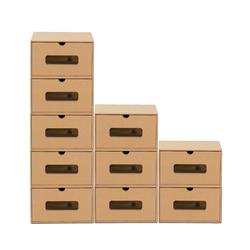 BigDean Schuhbox 10er Set braun mit Sichtfenster & Schublade aus Pappe Schuhkasten Schuhkarton Aufbewahrung stapelbar