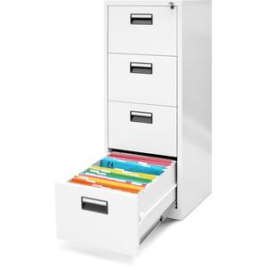 Jan Nowak Hängeregistraturschrank V004A Hängemappenschrank Hängeregisterschrank Aktenschrank mit 4 Schubladen Pulverbeschichtung Stahlblech 132 cm x 46 cm x 62 cm (H x B x T) (weiß)