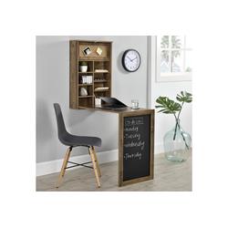 en.casa Wandregaltisch, Ausklappbarer Schreibtisch [Holzfarben] - Mit Regal, Pinnwand & Tafel natur