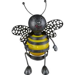 Solar Biene außen Biene Deko Gartenfiguren für Außen Metall, Akku schwarz gelb, 1x LED 0,06 Watt, H 25 cm, Garten