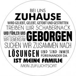 Glasbild ZUHAUSE (D 20 cm) Pro-Art