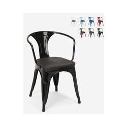 Chaises design industriel en bois et métal de style Tolix Cuisines de bar Steel Wood Arm | Noir