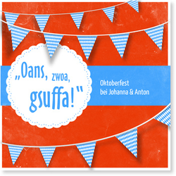 Einladungskarten Oktoberfest (10 Karten) selbst gestalten, Oktoberfest Gsuffa in Rot - Rot