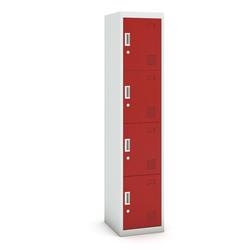 Viertüriger schrank, zylinderschloss, 1800 x 380 x 450 mm, grau/rot