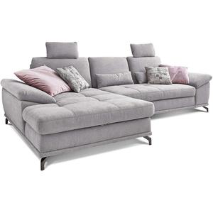 Cavadore L-Form-Sofa Castiel mit Federkern / Große Eckcouch mit Sitztiefenverstellung, Kopfstützen und XL-Longchair / 312 x 114 x 173 / Webstoff, Hellgrau
