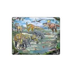 Larsen Puzzle Rahmen-Puzzle, 65 Teile, 36x28 cm, Dinosaurier, Puzzleteile