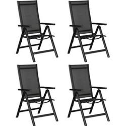 4x Alu Gartenstuhl Kenny Set Stuhlgruppe Garten Hochlehner Balkon Stühle schwarz