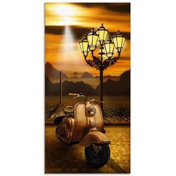 Artland Glasbild Oldtimer Motorroller romantisch, Motorräder & Roller (1 Stück) 30 cm x 60 cm x 1,1 cm