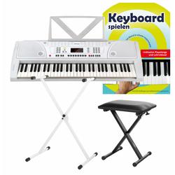 FunKey 61 Keyboard Weiß SET inkl. Keyboardständer, Bank und Keyboardschule