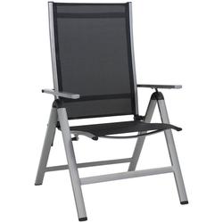 Greemotion Gartenstuhl Monza Comfort XL Alu/Textil, verstellbar, klappbar, silber/schwarz