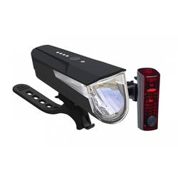 Büchel Fahrradbeleuchtung LED-Batterieleuchten-Set BLC 610 schwarz mit Akkus