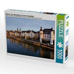 Koblenz - Das Altstadtufer im warmen Abendlicht. Lege-Größe 64 x 48 cm Foto-Puzzle Bild von Jutta Heußlein Puzzle