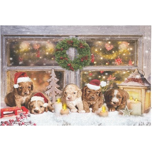 LED-Wandbild, Weihnachts-Hundewelpen-Motiv, 5 Flacker-LEDs, 60 x 40 cm