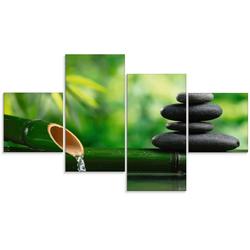 Artland Glasbild Bambusbrunnen und Zen-Stein, Zen (4 Stück) 120 cm x 70 cm