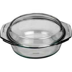 BOHEMIA SELECTION Auflaufform feuerfeste Glas Schüssel mit Deckel, bis 300°C, 2l