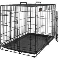 Songmics FEANDREA HundeKäfig 2 Türen Hundebox Gitterbox Transportbox faltbar DrahtKäfig Katzen Hasen Nager Kaninchen Geflügel Käfig schwarz XXXL 122 x 81 cm