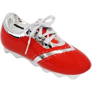 alles-meine.de GmbH 3-D Effekt _ Spardose -  Fußballschuh / Sportschuh - Schuh - rot  - mit echten Schnürsenkel ! - stabile Sparbüchse aus Porzellan / Keramik - Fußball - Spars..