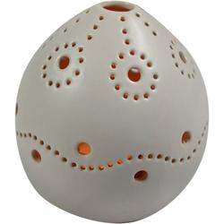 Guru-Shop Windlicht Windlicht weiß, Teelichthalter aus Keramik