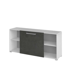 Büro Sideboard mit Schiebetür Weiß Grau