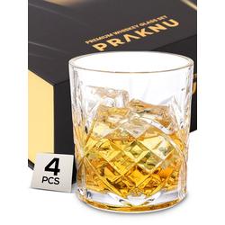 Praknu Gläser-Set Praknu Whisky Gläser 4er Set, Glas, mit Geschenkbox - Edles Kristallglas 300ml - Whiskey Glas zum Verschenken