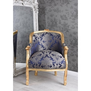 Sessel Barock Armlehnstuhl Antik Gold Armlehnsessel Polstersessel Vintage Stuhl