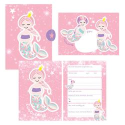 12 Glitzer Einladungskarten Meerjungfrau zum Geburtstag für Mädchen inkl. Umschläge | rosa glitzernde Geburtstagseinladungen für Kinder |