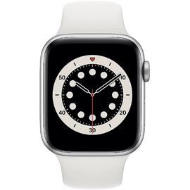 Apple Watch Series 6 GPS 44 mm Aluminiumgehäuse silber, Sportarmband weiß