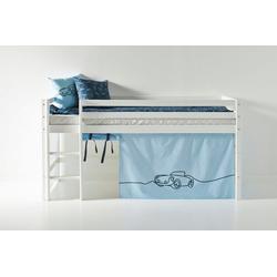 Hoppekids Hochbett mit Matratze und Textil-Set blau 101 cm x 208 cm x 105 cm