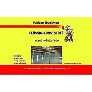 Farben-Budimex Flüssigkunststoff/Industrie-Betonfarbe/Grün / 2,5 L/zum Versiegeln u. Beschichten von Beton, Holz u. Metall/tritt-stoß- u. abriebfest/für höchste Ansprüche
