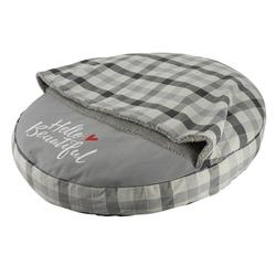 Haustier Kissen rund CAMPO mit Kuscheldecke, Ø 75 cm, grau