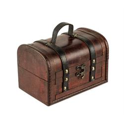 BigDean Schatzkiste Schatztruhe aus Holz − 18 x 12 x 12 cm − Schatzkiste mit Verschluss (1 Stück)
