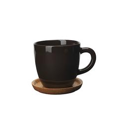 Höganäs Keramik Höganäs Keramik Kaffeebecher 33 cl mit Holzuntertasse bark blank